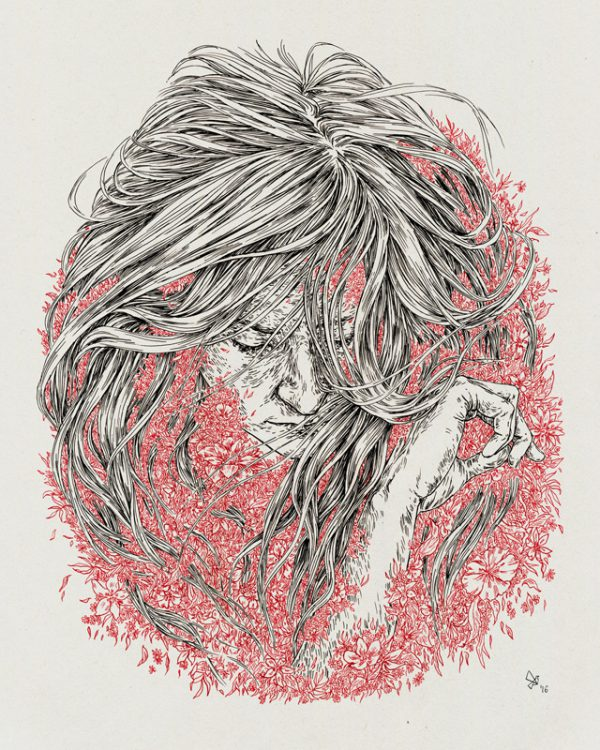 Buried in flowers Art by Daria Golab