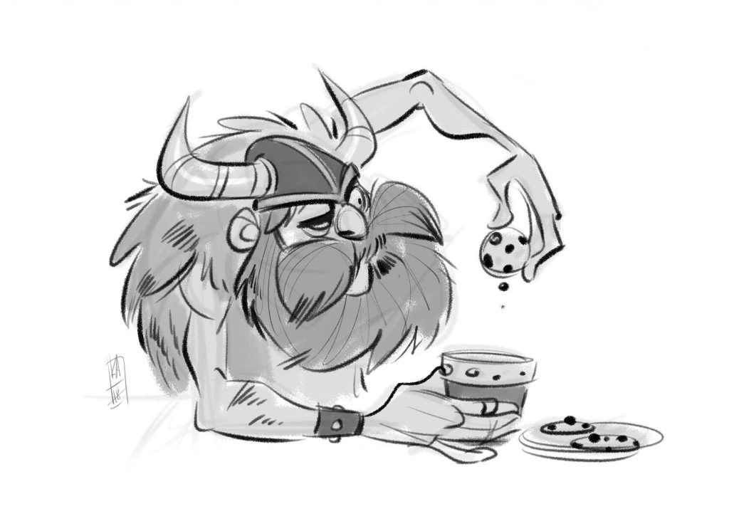Lunch break doodle. Viking and a cookie. by Kenneth Anderson