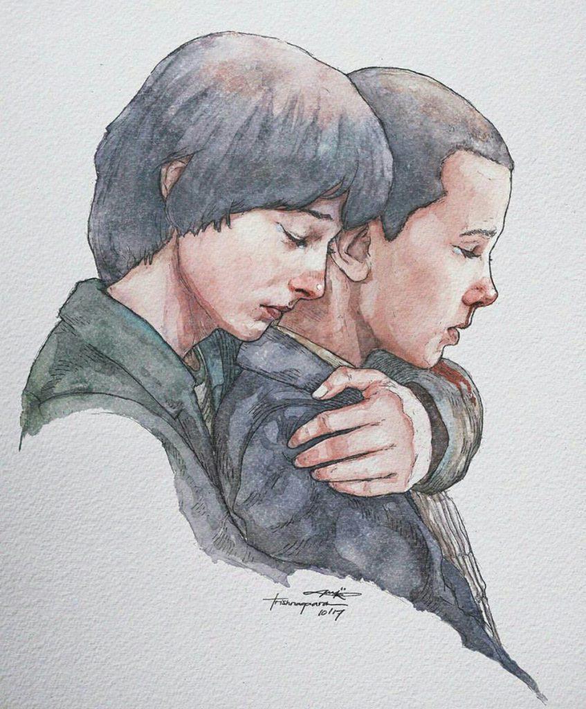 Stranger Things Fan Art of Mike and El by Trishna Gaara