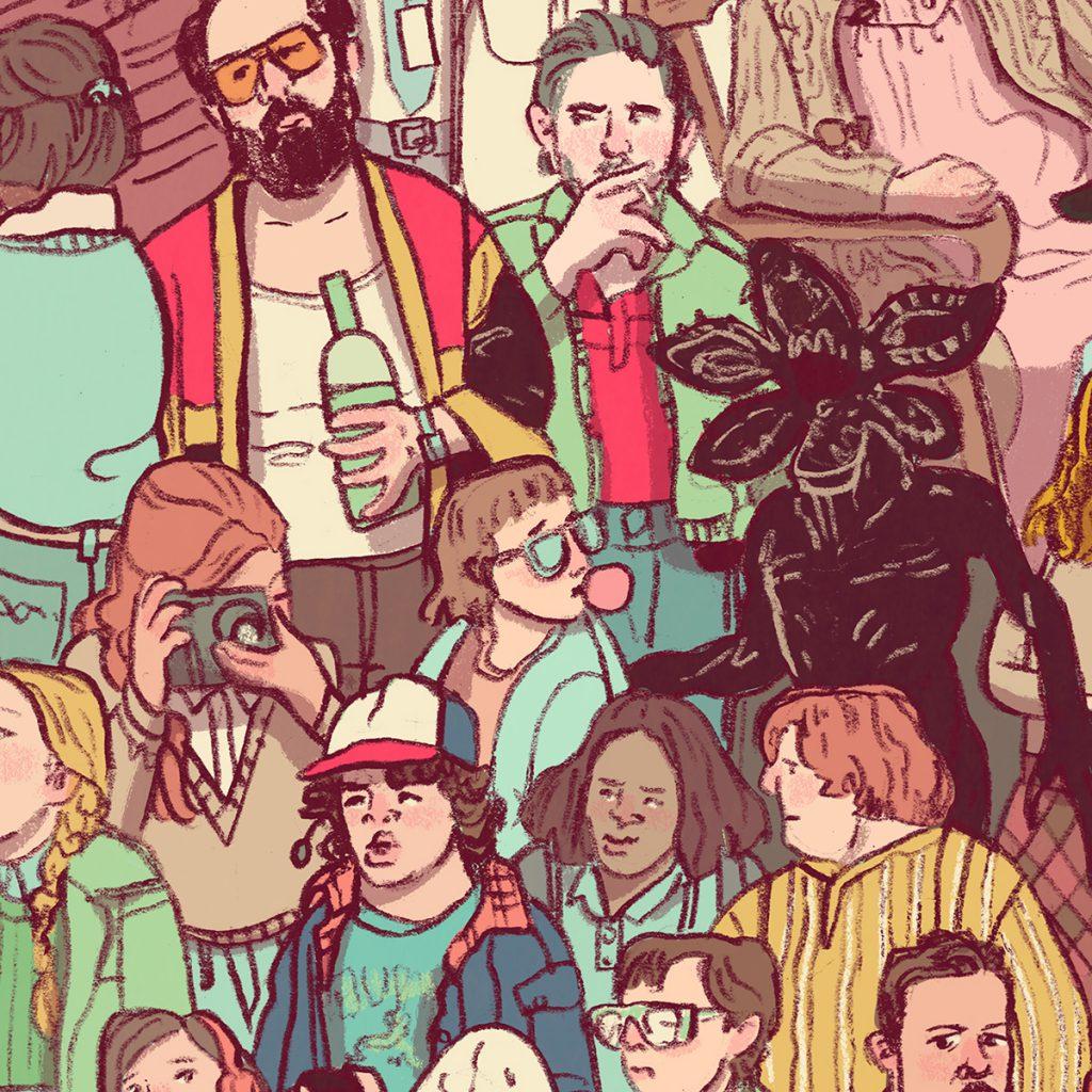Stranger Things Fan Art Poster Details by Brenna Thummler