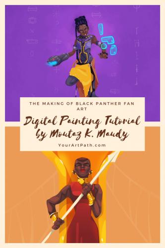Making Black Panther Fan Art – Digital Painting Tutorial by Moutaz K. Maudy