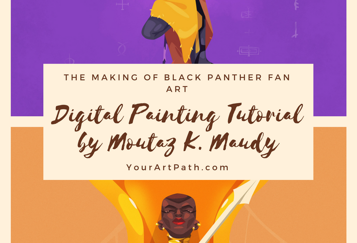 Making Black Panther Fan Art – Digital Painting Tutorial by Moutaz K. Maudy