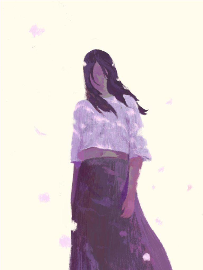 Girl Standing Illustration by Xiao